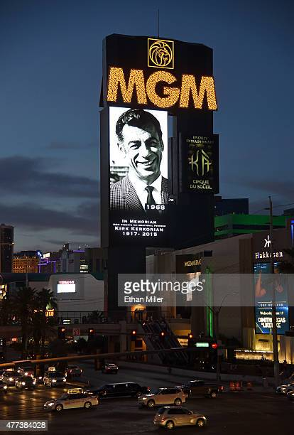 The marquee at MGM Grand Hotel Casino shows a video tribute to billionaire investor Kirk Kerkorian on June 16 2015 in Las Vegas Nevada Kerkorian who...