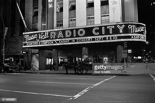 The marquee at Radio City Music Hall featuring Ashford & Simpson and Kashif in New York City on September 10, 1983.