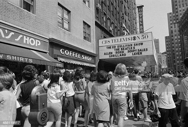 The marquee at The Ed Sullivan Show featuring The Beatles for their final performance on THE ED SULLIVAN SHOW. Image dated August 14, 1965.