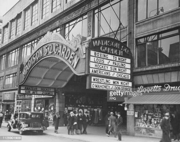 The marquee at the entrance to the Madison Square Garden indoor arena on Eighth Avenue between 49th and 50th Streets in Manhattan New York City 13th...