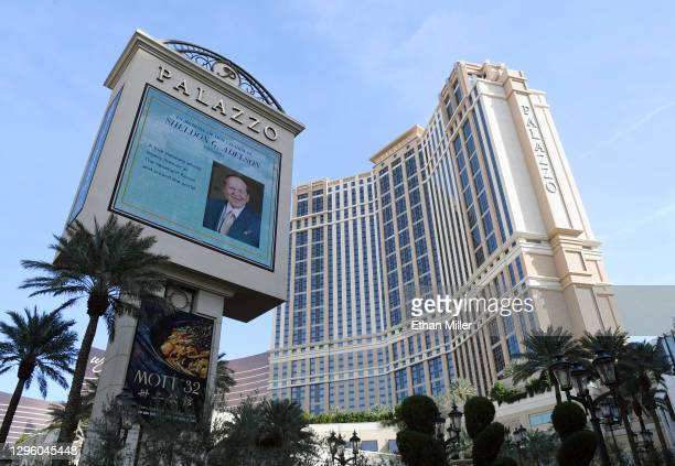 The marquee at The Palazzo Las Vegas displays a tribute to Las Vegas Sands Corp. Chairman and CEO Sheldon Adelson on January 12, 2021 in Las Vegas,...