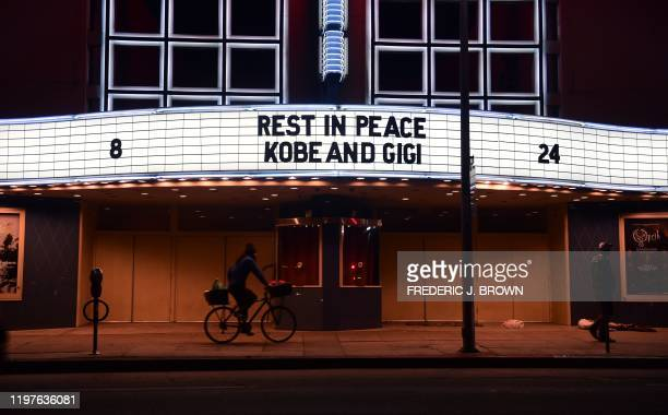 The marquee at the Palladium Theater on Sunset Boulevard in Hollywood, California mourns the late Los Angeles Laker Kobe Bryant and his daughter...