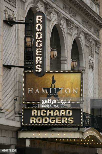 The marquee at the Richard Rodgers Theatre promoting the Broadway production of 'Hamilton' is viewed on June 10 2017 in New York New York With a full...
