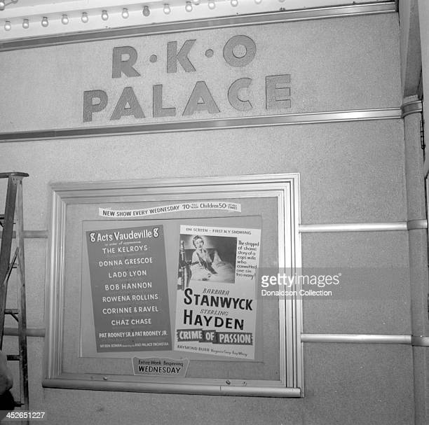 The marquee at the RKO Palace Theater advertises 8 Vaudeville Acts The Kelroys Australian Trampolinists Donna Grescoe Magic Fiddler Ladd Lyon A...
