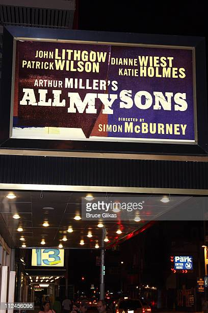 The Marquee for Arthur Miller's revival of All My Sons starring Katie Holmes appears at The Gerald Schoenfeld Theater on Broadway on August 18 2008...