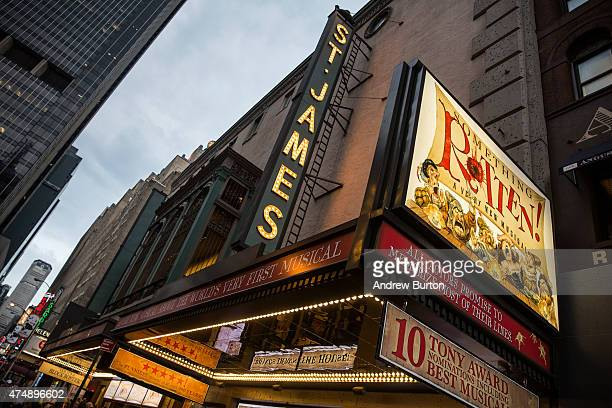 The marquee for Something Rotten is seen near Times Square on May 27 2015 in New York City Broadway theaters drew more than 13 million attendees a...