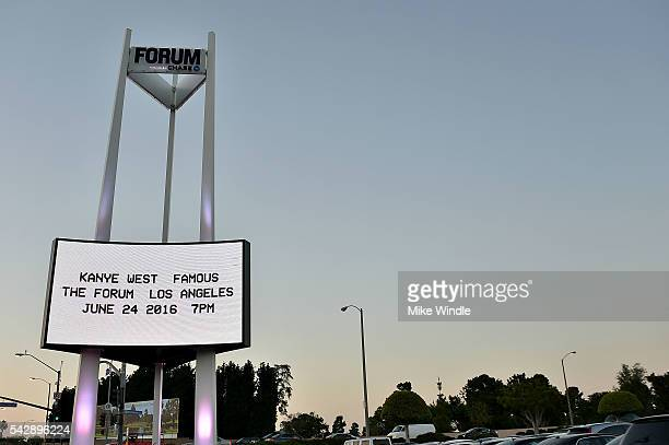 The marquee for the Kanye West video premiere for 'Famous' is displayed outside of The Forum on June 24 2016 in Inglewood California