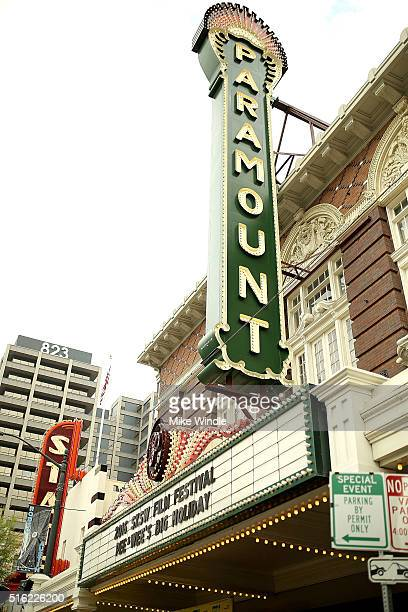 The marquee for the premiere of 'Peewee's Big Holiday' is displayed during the 2016 SXSW Music Film Interactive Festival at Paramount Theatre on...