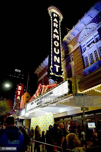 The marquee for the screening of Gleason is displayed during the 2016 SXSW Music Film Interactive Festival at Paramount Theatre on March 11 2016 in...