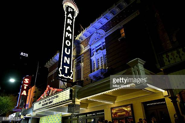 The marquee for the screening of Hardcore Henry during the 2016 SXSW Music Film Interactive Festival at Paramount Theatre on March 13 2016 in Austin...