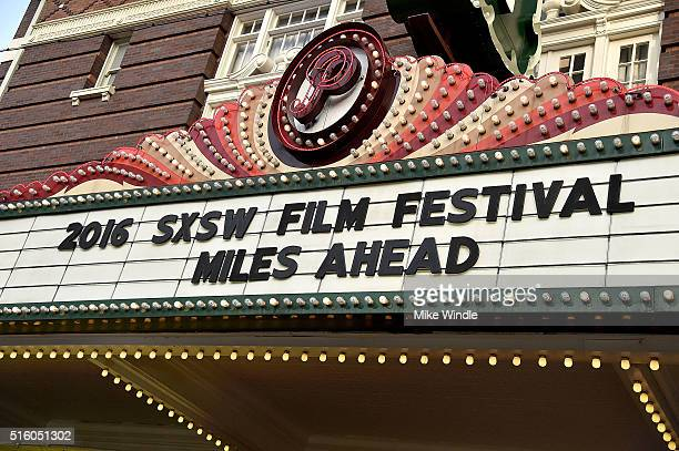 The marquee for the screening of Miles Ahead is displayed during the 2016 SXSW Music Film Interactive Festival at Paramount Theatre on March 16 2016...