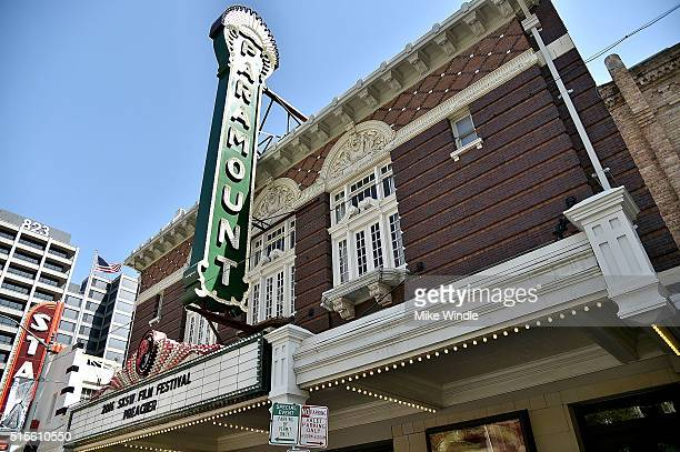 The marquee for the screening of Preacher is displayed during the 2016 SXSW Music Film Interactive Festival at Paramount Theatre on March 14 2016 in...