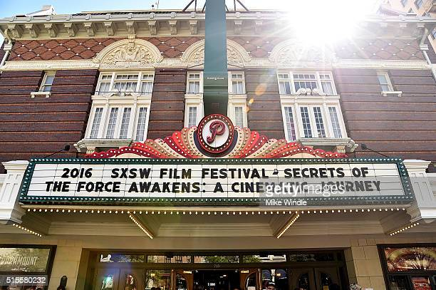 The marquee for the screening of Secrets of The Force Awakens A Cinematic Journey is displayed during the 2016 SXSW Music Film Interactive Festival...