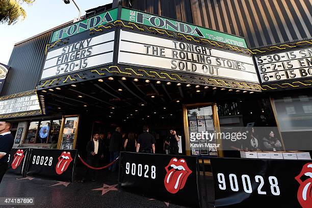 The Marquee is seen prior to The Rolling Stones Los Angeles Club Show at The Fonda Theatre on May 20 2015 in Los Angeles California The Rolling...