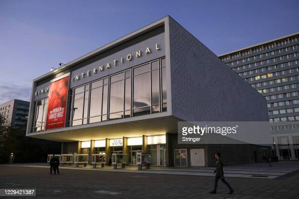 The Marquee of Kino International Cinema reads 'Take care of each other' on the first day of a four-week semi-lockdown during the second wave of the...