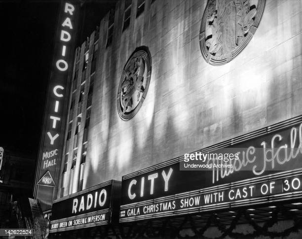 The marquee of Radio City Music Hall at Christmas in 1936 New York New York 1936
