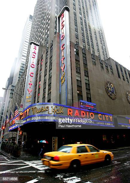 The marquee of Radio City Music Hall pays tribute to the late Luther Vandross on the morning of his funeral July 8 2005 in New York City
