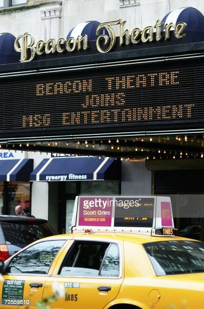 The marquee of the Beacon Theater is seen following a press conference to announce that MSG Entertainment will acquire the Beacon Theater on November...