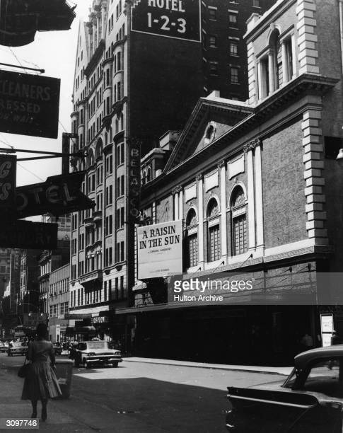 The marquee of the Belasco Theatre advertising Lorraine Hansberry's play 'A Raisin in the Sun' New York New York late 1959