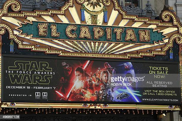 The marquee of the El Capitain theatre promotes the soontobereleased Star Wars The Force Awakens November 12 in Hollywood California Star Wars The...