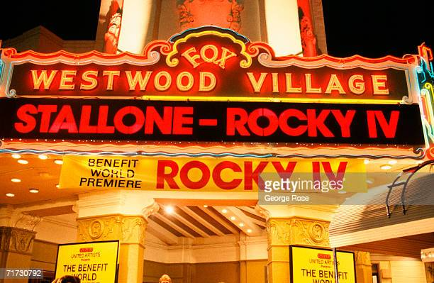 The marquee of the Fox Westwood Village Theatre heralds the 1985 West Los Angeles California premiere of 'Rocky IV'
