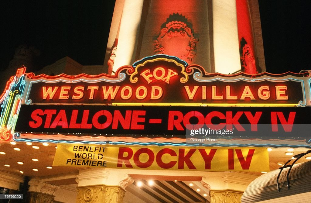 The marquee of the Fox Westwood Village Theatre heralds the 1985 West Los Angeles, California, premiere of 'Rocky IV.'