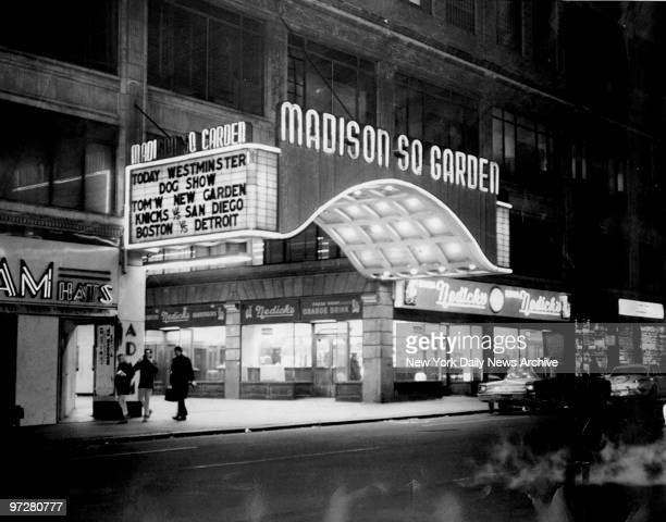 The marquee of the old Madison Square Garden on 50th St and Eighth Ave on the last night an event was held there