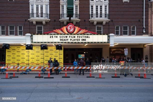 The marquee of the Paramount Theatre before the red carpet is held at the world premiere of Ready Player One during the SXSW Film Festival on March...
