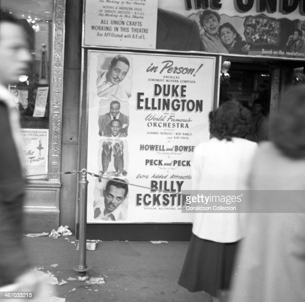 The marquee of the Paramount Theatre reads 'In Person America's Foremost Modern Composer Duke Ellington and his World Famous Orchestra featuring...