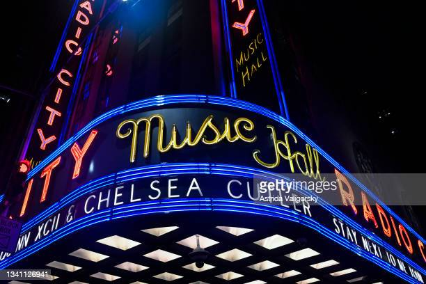 The marquee of the Radio City Music Hall for the Quinn XCII and Chelsea Cutler 'Stay Next to Me' tour on September 17, 2021 in New York City.