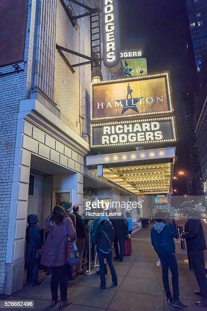 """The marquee of the Richard Rodgers Theatre promotes the hip-hop musical """"Hamilton"""" on Tuesday, December 22, 2015. The week ending Sunday, January 3,..."""