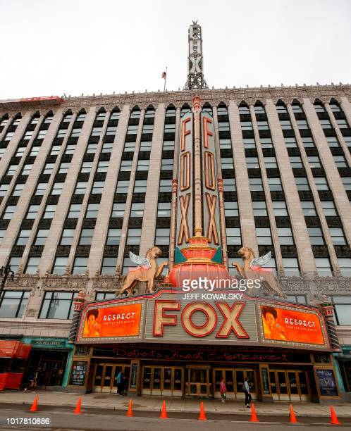 The marquee on the Fox Theatre shows photos of Aretha Franklin after it was announced she passed had passed away on August 16 2018 in Detroit...