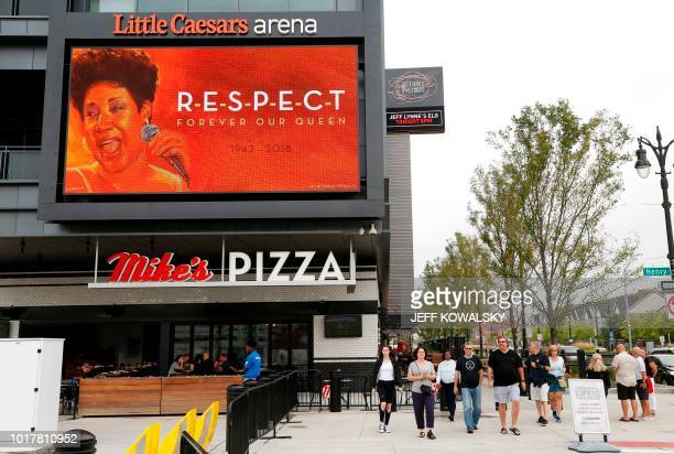 The marquee on the Little Caesars Arena shows a photo of Aretha Franklin after the announcement of her passing on August 16 2018 in Detroit Michigan...