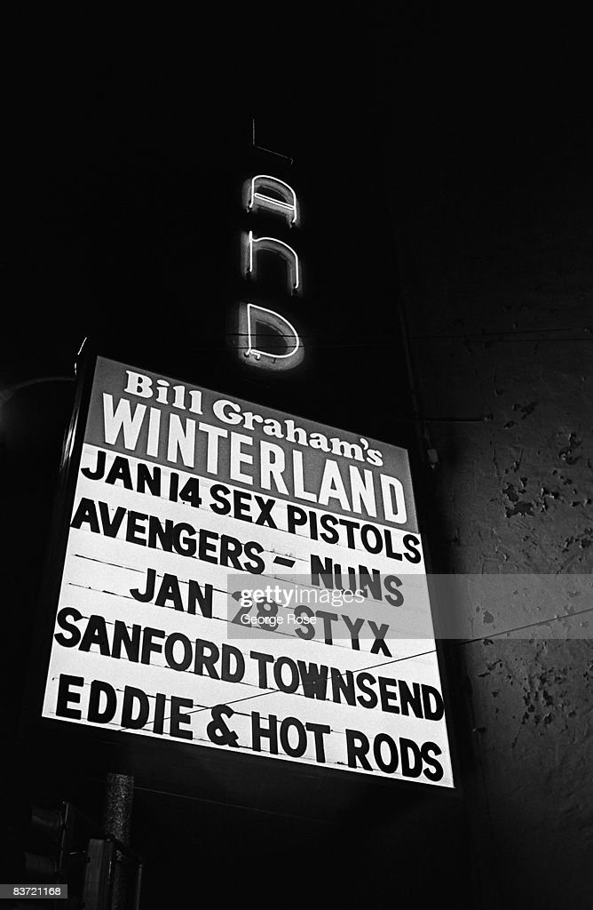 The marquee outside Bill Graham's Winterland Ballroom announces 'The Sex Pistols' performance in this 1978 San Francisco, California, photo.