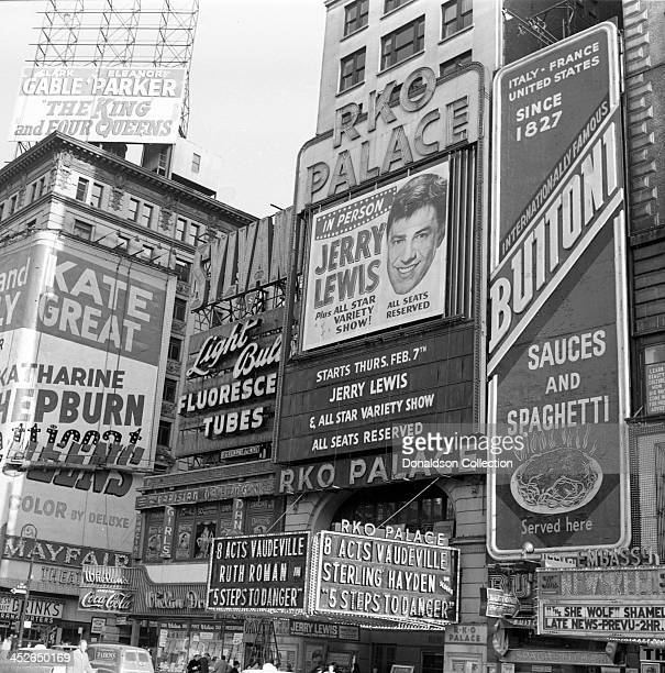 The Marquee reads 'In Person Jerry Lewis And All Star Variety Sjhow All Seats Reserved RKO Palace' for a Jerry Lewis show at the RKO Palace Theater...