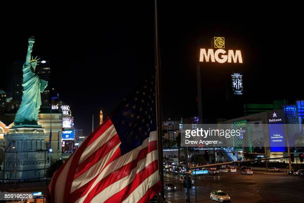 The marquees on the Las Vegas Strip including the marquee of MGM Grand Hotel Casino go dark for 11 minutes in tribute to the victims of the Route 91...
