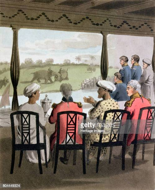 The Marquess of Wellesley GovernorGeneral of India 1813 'Marquis Wellesley and his Suite at the Nabob of Oude's Breakfast Table viewing an elephant...