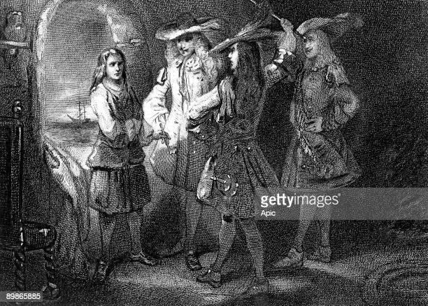 The Marquis de Cavoye threatening Jean Bart engraving 17th century