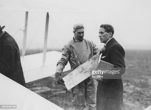 The Marquis of Clydesdale , the first person to fly over Mount Everest, 1933. He is pictured with Flight Lieutenant D. F. McIntyre and his journey...