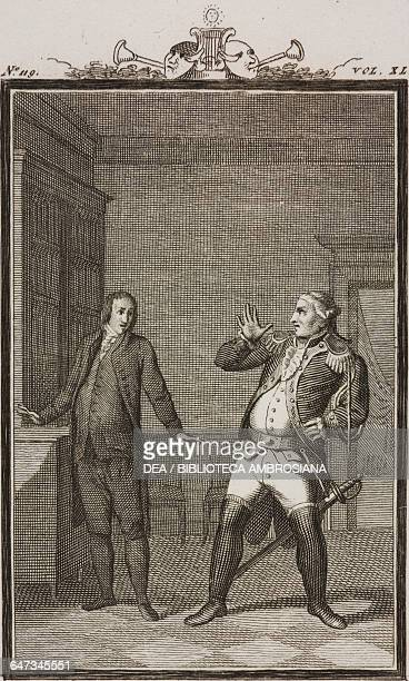 The Marquis of Croccand refusing medical advice to drink water instead of wine engraving by Antonio Viviani from a drawing by G Steneri from The...