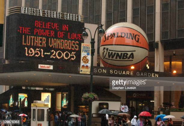 The marquis outside Madison Square Garden memorializing the death of Luther Vandross