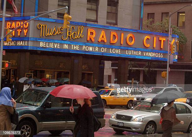 The marquis outside Radio City Music Hall memorializing the death of Luther Vandross