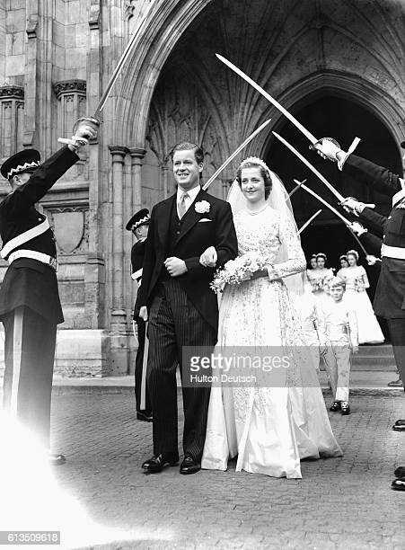 The marriage at Westminster Abbey of Earl Spencer Viscount Althorp to Frances Roche 1954 Their daughter Lady Diana Spencer became Princess of Wales