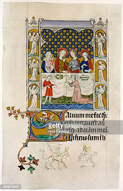The marriage feast at Cana early 14th century Below in an initial letter 'S' the throwing overboard and casting up of Jonah From the Queen Mary...