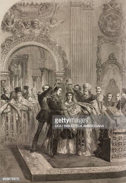 The marriage of Alexander Alexandrovich Romanov and Maria Feodorovna in the Chapel of the Winter Palace November 9 St Petersburg Russia illustration...