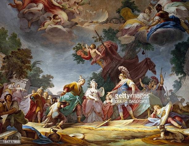 The marriage of Alexander and Rossana fresco by Mariano Rossi ceiling of the Hall of Alexander the Great Royal Palace of Caserta Campania Italy...