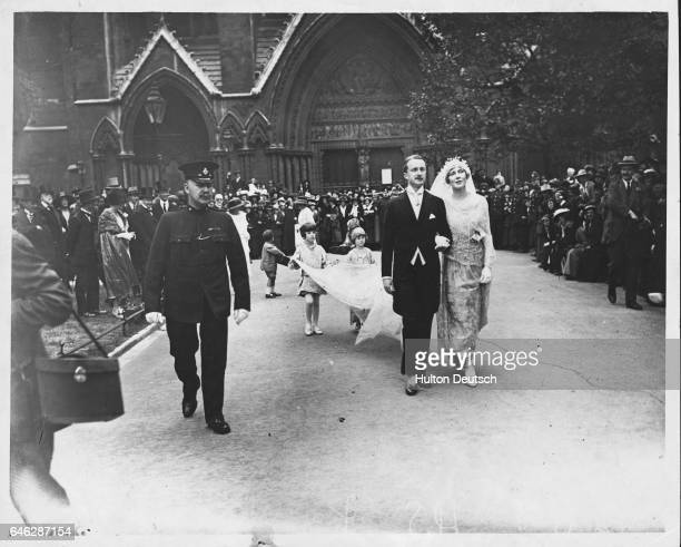 The marriage of British politician Alfred Duff Cooper, 1st Viscount Norwich, to Lady Diana Manners, 1919.
