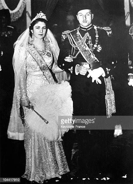 The marriage of King FAROUK 1st of Egypt with Farida ZULFIKAR queen of Egypt in Cairo in 1938