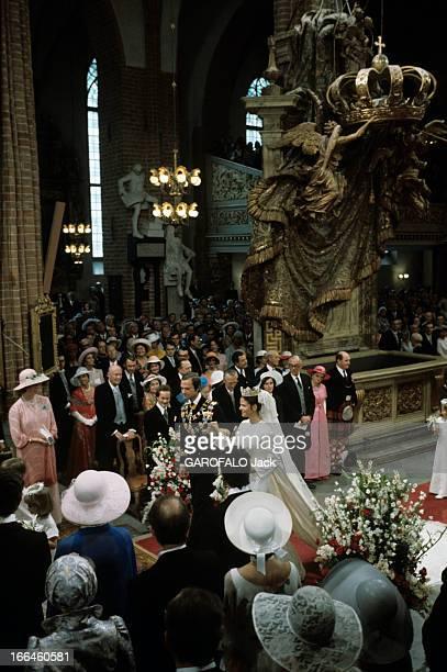 The Marriage Of King Gustav Carl Xvi Of Sweden With Silvia Sommerlath Stockholm 19 juin 1976 Dans la cathédrale à l'occasion de leur mariage entourés...