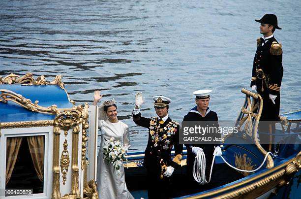 The Marriage Of King Gustav Carl Xvi Of Sweden With Silvia Sommerlath Stockholm 19 juin 1976 Sur une chaloupe de style baroque nommée 'Vasaorden' le...